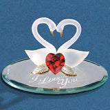 "Glass Baron Handcrafted Swan Pair ""I Love You"" Figurine Accented with Swarovski Crystal & 22Kt Gold"