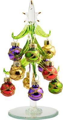 "Glass Christmas Tree w/ Round Sparkle Ornaments  ~ 6"" ~ XM-697"