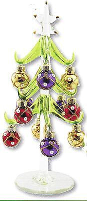 Glass Christmas Tree w/ Colored Ornaments ~ NIB ~ Great Gift Idea ~ 8""