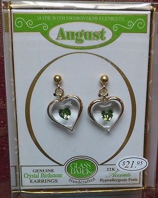 Glass Baron August Birthstone Earrings Accented With Swarovski Peridot Crystal Heart and 22Kt Gold