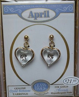 April Birthstone Earrings ~ Crystal ~ 22kt gold trim ~ JX2 740-04