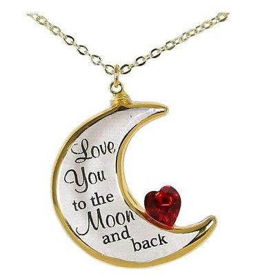 "Glass Baron Crescent Moon Necklace ""Love you to the Moon and Back"" Accented with Swarovski Crystals"