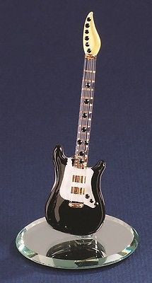 Glass Baron ~ Vintage Black Guitar ~ 22kt gold trim ~ Crystal Gems ~ New in Box