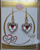 Heart Earrings ~ Red Crystals ~ 22 kt gold trim ~ JX6 101-RH