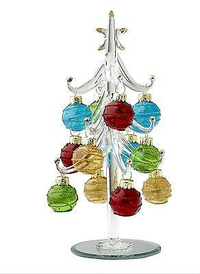 Glass Christmas Tree w/ Multi-Colored Ornaments ~ NIB ~ Great Gift Idea ~ 8""