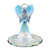 Glass Baron Heavenly Blue Angel Holding Blue Heart Accented with Swarovski Crystal & Real 22Kt Gold