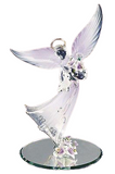 Glass Baron High Quality Figurines Gorgeous Lavender Angel Holding Dove Accented with Swarovski Crystals
