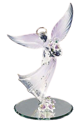 Glass Baron Gorgeous Lavender Angel Figurine Holding Dove Accented with Swarovski Crystals