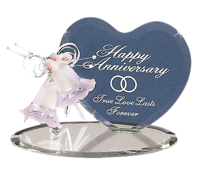 Glass Baron Anniversary Bells and Heart Figurine Accented with Crystal, Great Gift