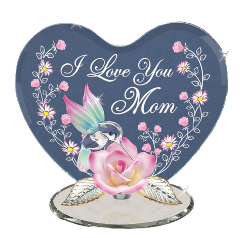 "Glass Baron Hummingbird with Pink Rose ""I Love You Mom"" Figurine Printed In Heart Shaped Glass"