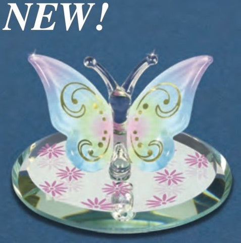 Glass Baron ~ Touch of Yellow Butterfly w/ 22 kt Gold ~ Beautiful ~ New in Box