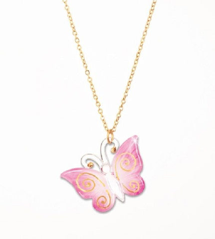 Glass Baron ~ Pink Butterfly Necklace ~ 22 Kt gold accent ~ Brand New ~ L@@K