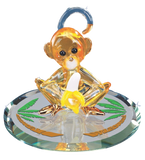 "Glass Baron Handcrafted ""Banana Monkey"" Figurine Accented with Swarovski Crystal Eyes & 22kt Gold"