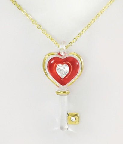 Glass Baron ~ Red Key to my Heart Necklace Crystal ~ 22kt gold trim ~ NIB