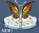 Glass Baron Handcrafted Beautiful Monarch Butterfly Figurine Mounted on Round Floral Mirror Base