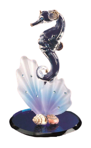 Glass Baron Sea Horse On Blue Coral Figurine Accented with Blue Swarovski Crystal Eyes Attached to Bluish-Purple Round Base