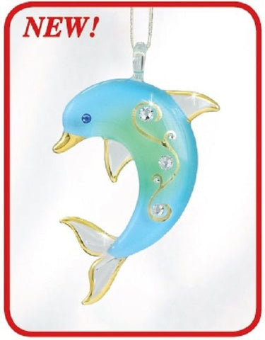 Glass Baron ~ Hanging Blue Dolphin w/ Crystals & 22kt gold accents Ornament  NIB ~ W3 610