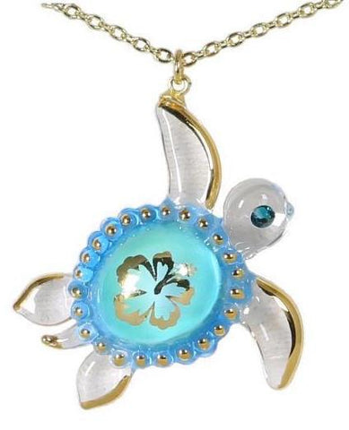 Aloha Sea Turtle Necklace ~ Crystal Eye and 22kt gold trim JP 623-A