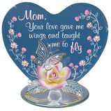 "Glass Baron Figurine of Butterfly and Porcelain Rose """"Mom, Your Love Gave Me Wings And Taught Me to Fly"" Print On Heart-Shaped Glass"