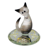 Glass Baron Elegant Siamese Cat Figurine, Swarovski Crystal Eyes and Necklace with Yellow and White Floral Design on Mirror Base