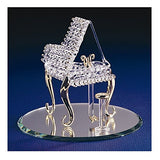 Glass Baron Handcrafted Figurine of Piano with 22kt Gold Accents Mounted on Round Mirror Base
