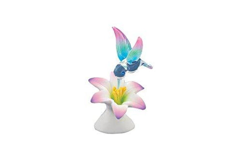Lavender Lily Hummingbird Glass Figurine