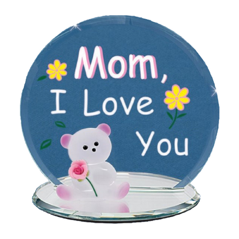 "Glass Bear & Rose Handcrafted Figurine ""Mom I Love You"" Glass Baron"