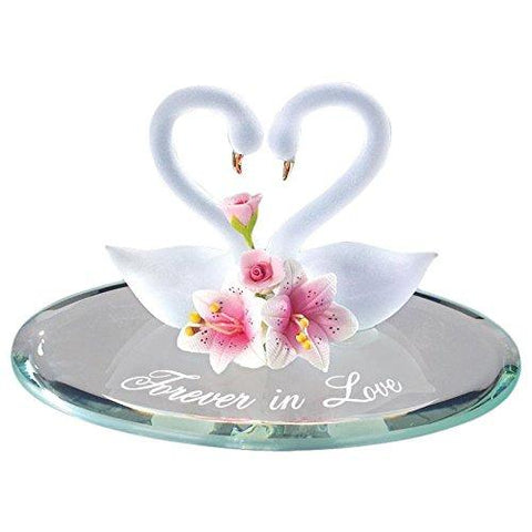 "Glass Baron Handcrafted ""FOREVER IN LOVE"" Swan Pair Figurine with Lilies Accented with 22Kt Gold"