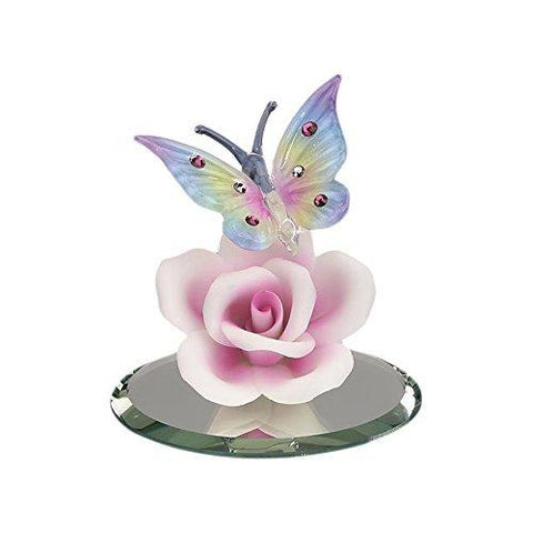 Glass Baron Beautiful Butterfly On Pink Porcelain Rose Figurine Accented with Swarovski Crystal