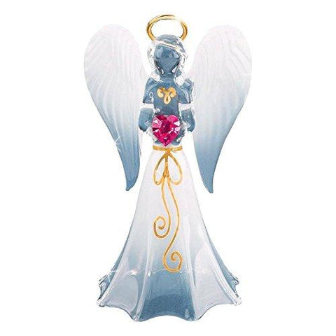 Glass Baron Handcrafted White Angel Angelique Lovely Figurine Holding Swarovski Crystal Lavender Heart