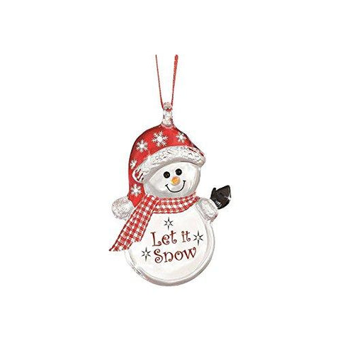 "Glass Baron Handcrafted Ornament of Snowman ""Let it Snow"" Hanging From Red Ribbon Accented with Swarovski Crystals"