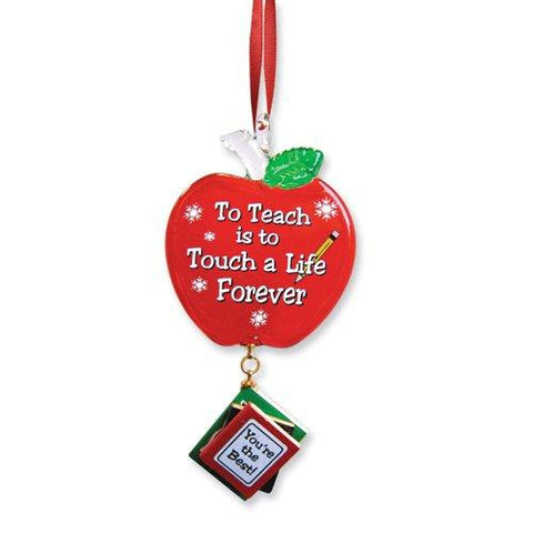 "Glass Baron ""To Teach is to Touch a Life Forever"" Handcrafted Glass Ornament"
