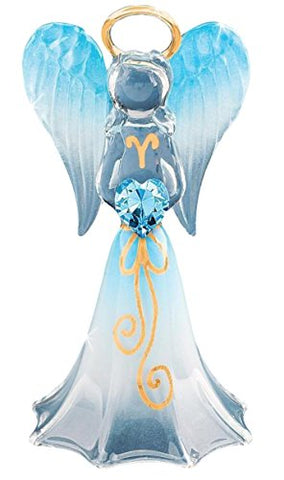 Baron Glass Hand-crafted Blue Angel Holding a Blue Swarovski Crystal Heart with a Design on Skirt
