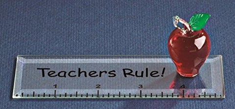 "Glass Baron ""Teachers Rule"" Apple Glass Figurine Mounted on a 5"" Long Acrylic Ruler"