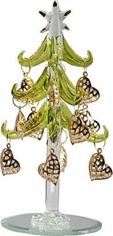 LS Arts Green Glass Tree with Gold Heart Ornaments
