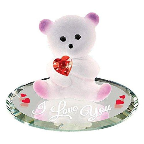 Bear with Red Crystal Heart I Love U Glass Figurine