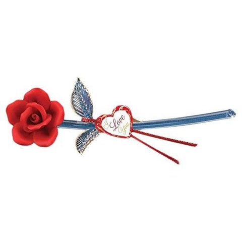 I Love You Red Rose Glass Figurine
