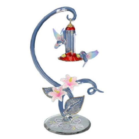 Bird Feeder Glass Hummingbird Handmade Figurine Accented with Crystals and 22Kt Gold