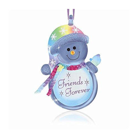 Friends Forever Snowman Glass Ornament