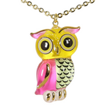 Glass Baron Handcrafted Colorful Owl Necklace Accented with Real 22Kt Gold
