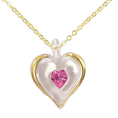 Glass Baron October Birthstone Heart Necklace Accented with Pink Swarovski Crystals & Real 22Kt Gold