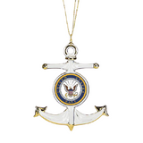 Glass Baron Handcrafted Luxury Navy Anchor Ornament Classic U.S. Navy Emblem Accented with Real 22kt Gold