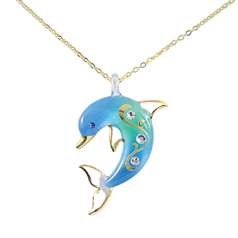 Glass Baron Handcrafted Turquoise Dolphin Necklace Accented with Swarovski Crystals