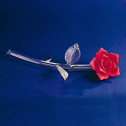 "Glass Baron ~ Red Rose Long Stem 22 kt. gold trim ~ 11"" ~ Great Gift ~ P6 414R"