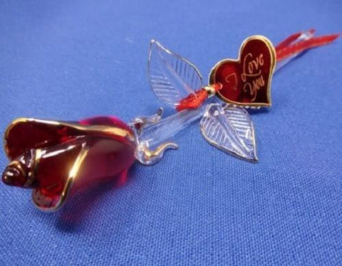 "Glass Baron ~ ""I Love You"" Red and Gold Rose Figurine"