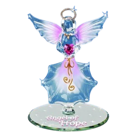 Lovely Figurine Handcrafted Glass Baron Angel of Hope Accented with Pink Swarovski Crystals Heart