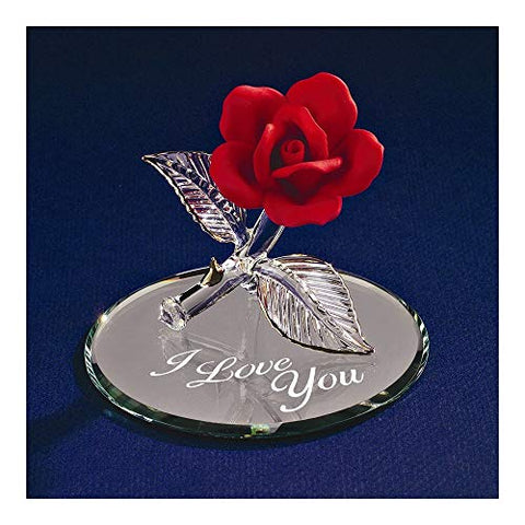Red Rose ~ I Love You ~ 22 kt gold trim ~ Valentine's Gift ~ P4 446-R5