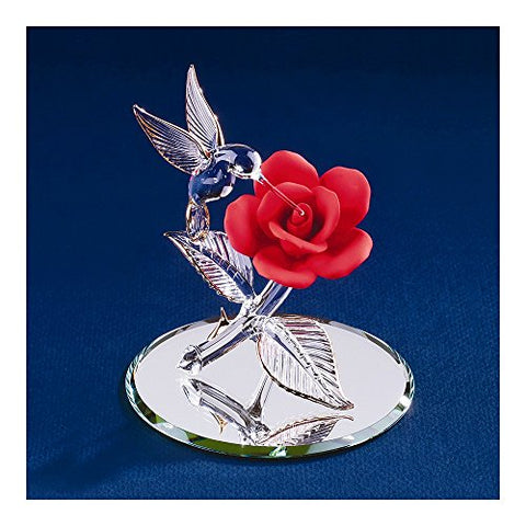 Red Rose With Hummingbird Glass Figurine