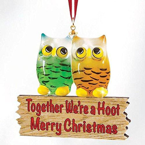 "Glass Baron ~ ""We're A Hoot"" Owls Ornament"