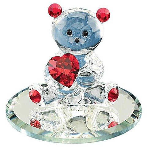 Glass Baron Handcrafted Bear Holding Red Crystal Heart Figurine Accented with Swarovski Crystal